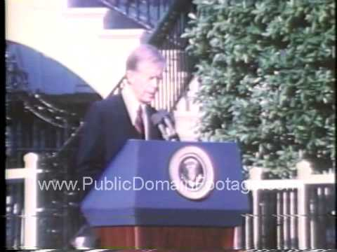Jimmy Carter welcomes Pope John Paul II to White House Oct 6 1979 archival footage