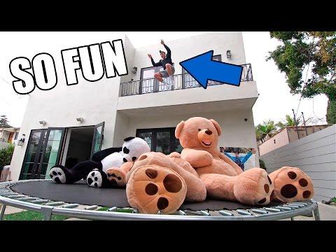 TRAMPOLINE VS. GIANT TEDDY BEARS