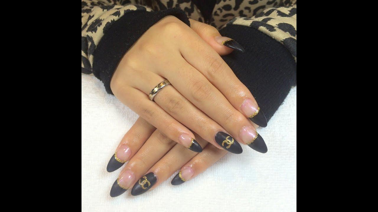 Edgy Matte Black Gel Nails