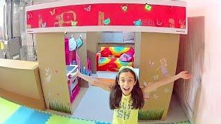 TOUR PELA CASA DE PAPELÃO ★ Cozinha, Sala e Quarto na minha casinha feita com caixas★ LELÊ NO CANADÁ