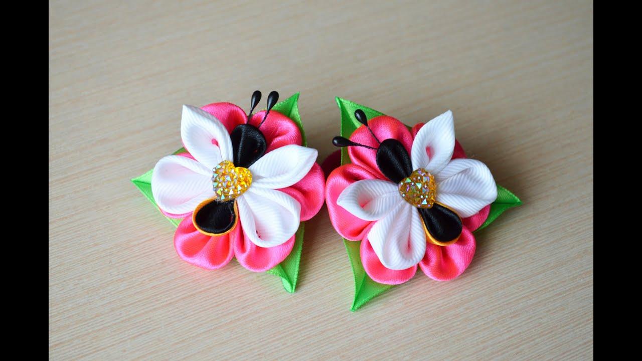 Бантики на резинки для волос своими руками из лент мастер класс канзаши