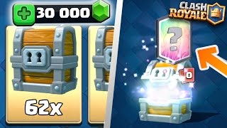 Clash Royale - 62 GIANT CHESTS OPENING! MASSIVE 30000 GEMS LEGENDARY HUNTING! INSANE CHEST GEMMING!