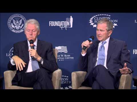 President George W. Bush and President Bill Clinton discuss Presidential Leadership Scholars