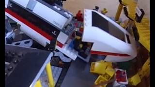 Lego train crash at Lego railway station: 6 cameras!
