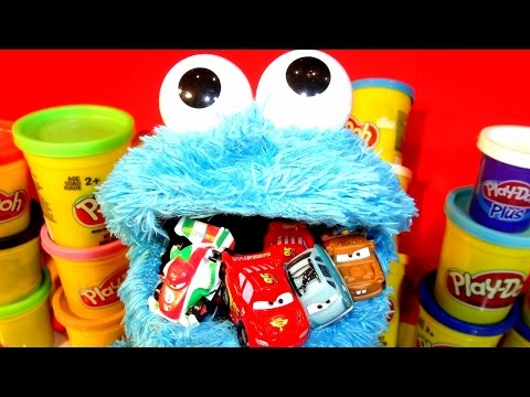 Cookie Monster Count n' Crunch Counting Micro Drifter Pixar Cars in his BackPack and in his Mouth