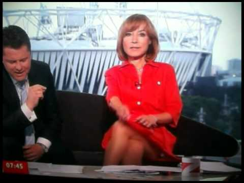 BBC Olympic Breakfast's Sian Williams accidently shows viewers her underwear live on-air while crossing her legs on the sofa.