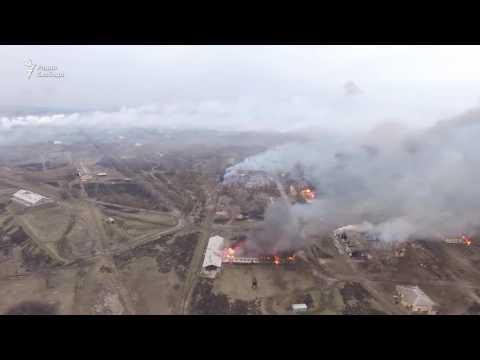 Пожар на складе боеприпасов под Харьковом - вид с дрона
