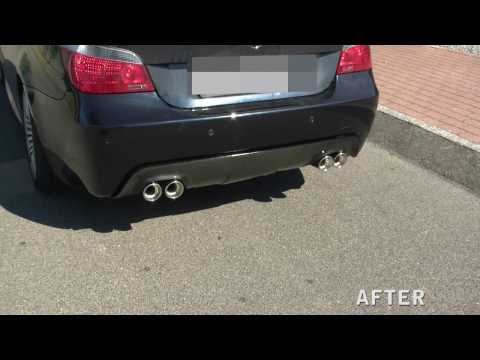 BMW E60 550I with Schmiedmann double sided sliencer system