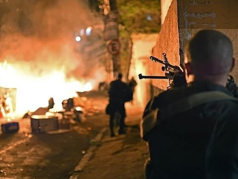 Riots in Rio's favelas two months before soccer World Cup