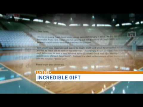 Legendary UNC coach Dean Smith leaves special gift for...