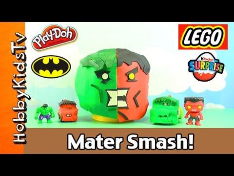Play-doh Lego Head Hulk Mater + Hulk Mater Smash! Batman! Kinder Egg Surprise! Hobbykidstv video