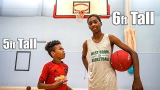 5ft Tall Kid vs 6ft Tall Big Brother Basketball 1v1