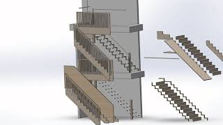 CAD Full Stairs Assembly | Falkus Joinery design
