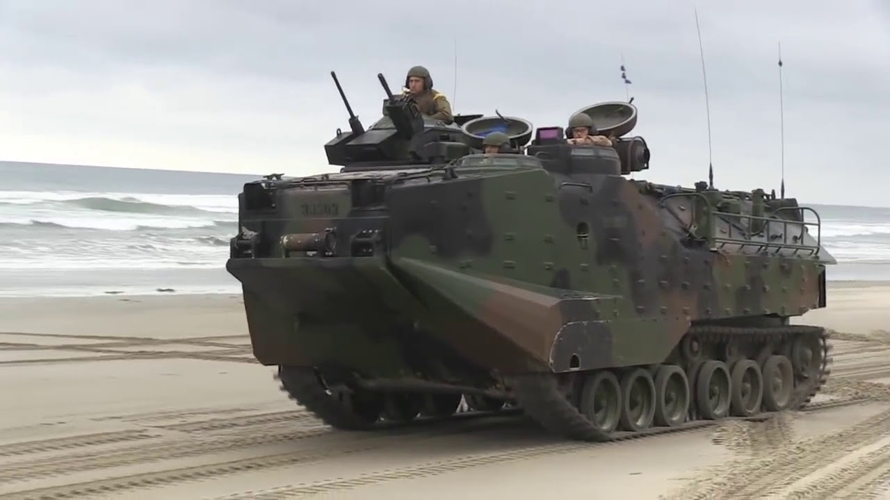 Assault Amphibious Vehicle 71A's with U.S. Marines - YouTube