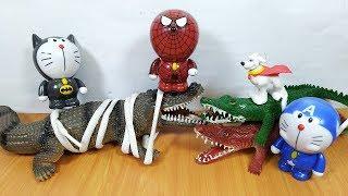 Đồ chơi chú chó siêu nhân doremon người nhện thu phục cá sấu