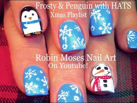 EASY Christmas Nail Art - Hats for Penguin & Frosty !!
