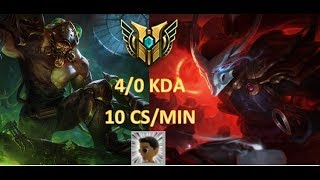 EZ 4/0 with 10 CS/min Tryndamere vs Yasuo Top Lane S8 Ranked League of Legends