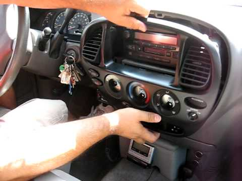 How to Remove Radio / CD / Cassette Player  from 2003 Toyota Tundra for Repair.
