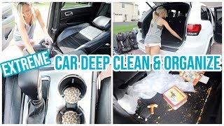 EXTREME CAR CLEAN AND ORGANIZE // COMPLETE DISASTER CAR CLEANING ORGANIZATION HACKS // CLEAN WITH ME