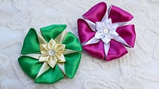Diy ribbon flower, kanzashi flower tutorial