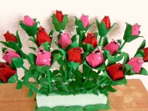 ROSAS DE CARTON DE HUEVO ** EGG CARTON ROSES