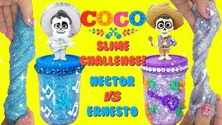 D.I.Y. COCO Hector VS Ernesto De La Cruz Slime Challenge Glitter slime