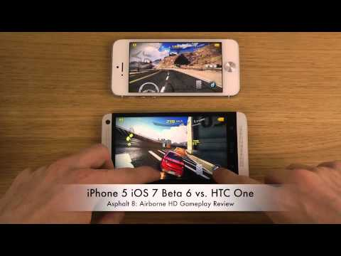 iPhone 5 iOS 7 Beta 6 vs. HTC One - Asphalt 8 Airborne HD Gameplay Review