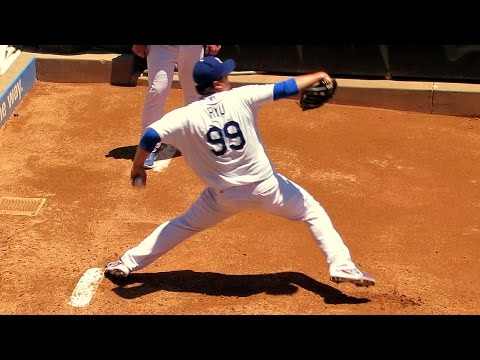 Hyun-jin Ryu Bullpen Warmups Before Win Today 7-13-14