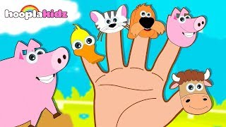 Learn Farm Animals with Finger Family Song | Animal Sounds Song| Nursery Rhymes by HooplaKidz
