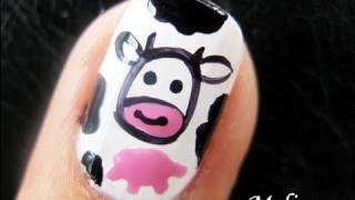 EASY ANIMAL COW PRINT NAIL ART DESIGN | MOOOOO BEGINNER FUNNY FREEHAND TUTORIAL FOR SHORT NAILS