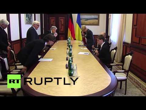 Ukraine: German FM Steinmeier meets Yatsenyuk over Ukraine conflict
