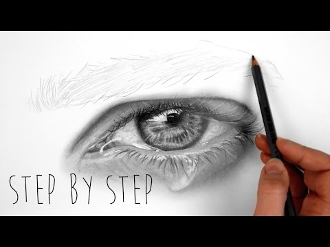 Step by Step | How to shade a realistic eye with teardrop using graphite pencils | Emmy Kalia
