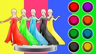 Coloring Disney Princess Frozen Elsa Dress Colors Johny Johny Yes Papa Song Rhymes for Kids