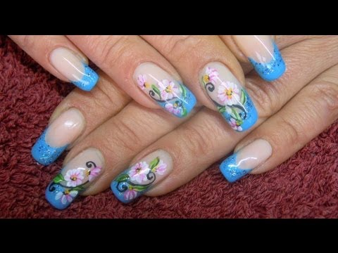 French manicure with flowers -