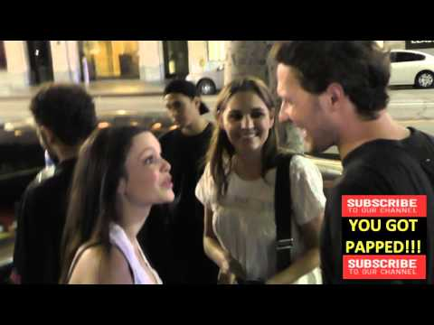 Rachel Bilson greets fans while walking on Hollywood Blvd