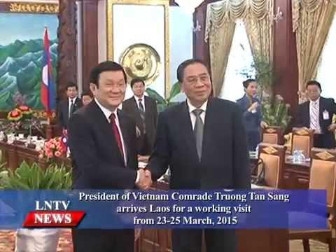 Lao NEWS on LNTV: President of Vietnam Comrade Truong Tan Sang arrives Laos.23/3/2015