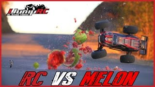 Traxxas E-Revo RC Car vs Watermelon at 60mph in Slow Motion