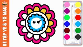 Bé tập vẽ bông hoa đơn giản và Tô màu 7 sắc cầu vồng | Bé Tập Vẽ Bông Hoa