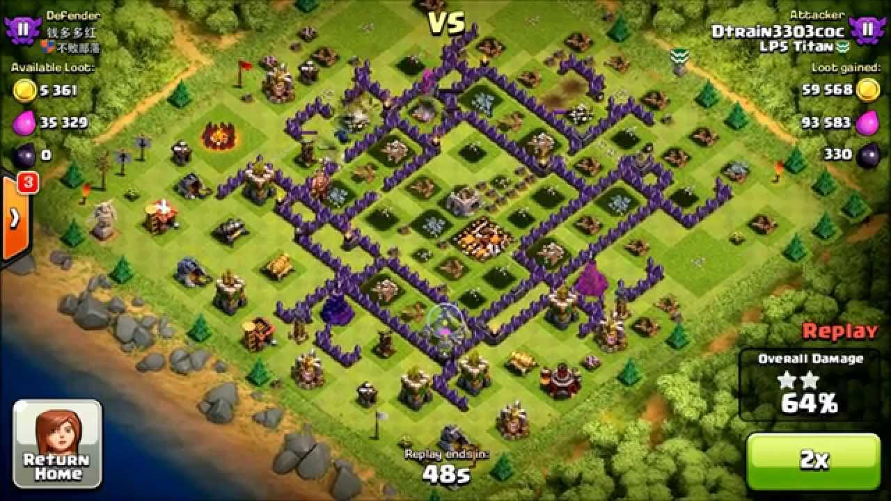Clash of clans th9 vs th10 using the gowipe attack strategy