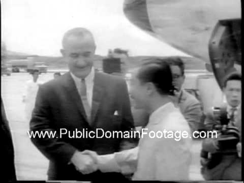 President LBJ visits Guam to discuss Vietnam crisis newsreel archival stock footage