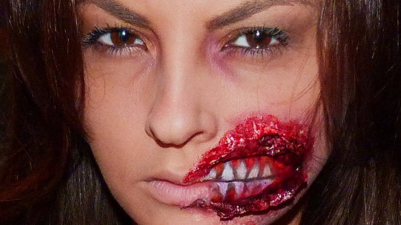 Maquillage effets sp ciaux bouche arrach e sur julia flabat chroniqueuse hollywood girls 2 - Maquillage zombie femme facile ...
