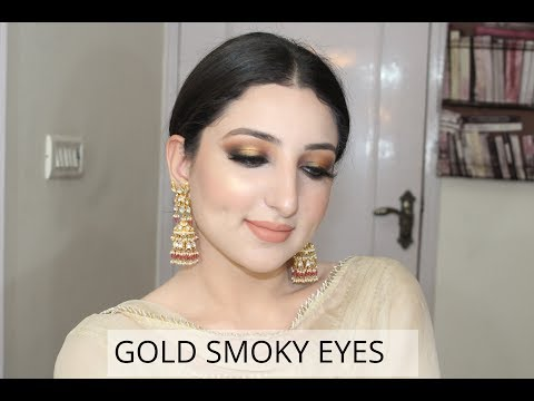 FULL FACE OF FIRST IMPRESSIONS || gold smoky eyes || RIA CHAUDHARY