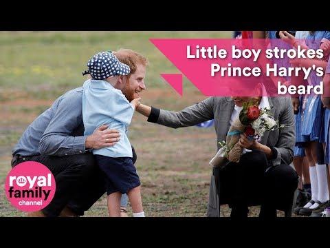 Cute Alert: Little boy strokes Prince Harry's beard and gives hugs