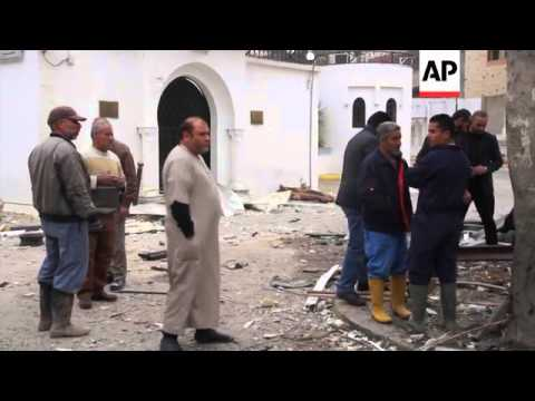 Aftermath of blast at Algerian embassy in Tripoli