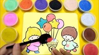 Đồ chơi trẻ em TÔ MÀU TRANH CÁT EM BÉ BÁN BONG BÓNG - BÉ HỌC TÔ MÀU - Learn colors Sand painting toy