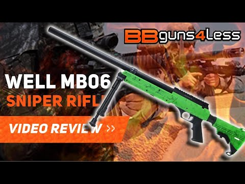 Well MB06 Sniper Rifle Airsoft BBgun Review Unboxing Shooting Test
