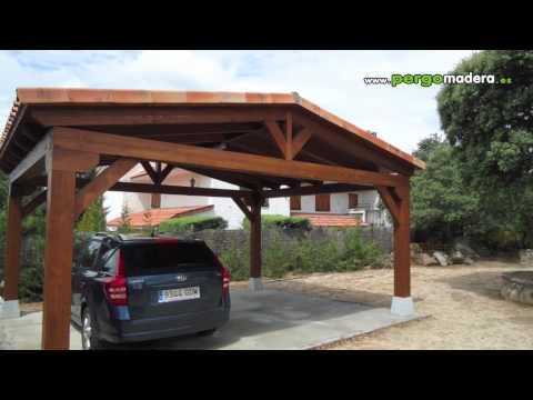 Garajes de madera pergomadera 2011 youtube for Garajes modelos