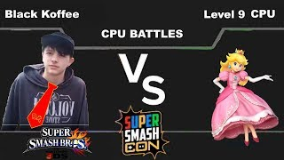Black Koffee(Donkey Kong) vs Level 9 CPU(Peach) - Super Smash Bros for 3DS