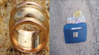 FOUND Bag Full of Cash & Gold (NO POLICE) Treasure Beach Metal Detecting