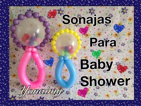 SONAJA CON GLOBOS PARA BABY SHOWER.-   BABY RATTLE BALLOON .